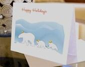 Polar Bear Holiday Card - Greeting Card - Happy Holidays - Merry Christmas - Happy New Year