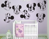 "Wall decals MINNIE MOUSE 7 Various large faces Interior decor by Decals Murals (22"")"
