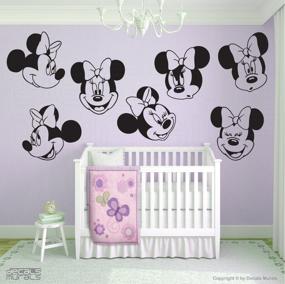 Wall Decals Minnie Mouse 7 Various Large Faces By Decalsmurals
