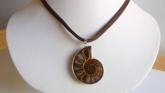 Fossilized Ammonite Pendant - Coffee Caramel -Natural Earthy Jewelry