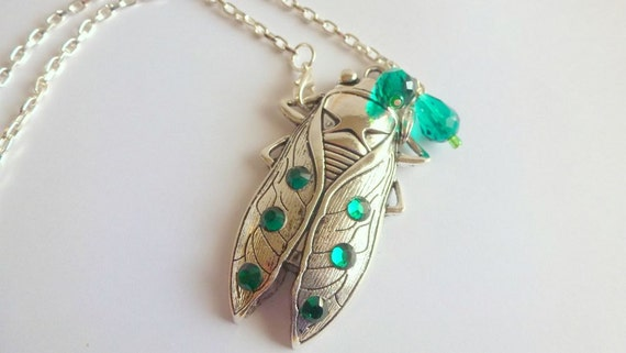 Cicada Necklace Antique Silver  Green Jewelled Bug  Insect Pendant Unusual Jewelry