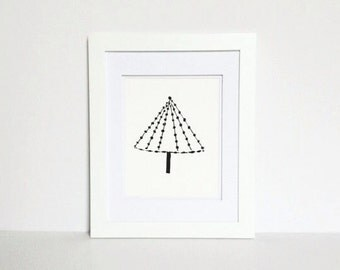 Minimal and Modern Christmas Tree Linocut Decor Black art PRINT 8x10 holiday decoration