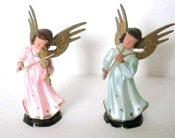 Vintage Celluloid Christmas Angels 1950's