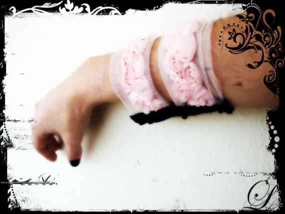 Pink  Victorian Gothic Textile Cuff  with Fabric Roses by Dryw on Etsy