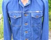 Vintage Rustler Jean Denim Jacket Cowboy Trucker Grunge Retro Size Small to Medium