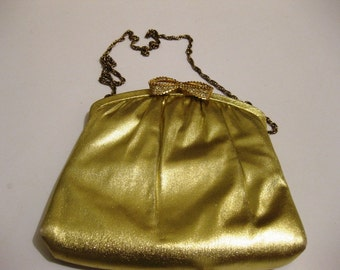 70s Gold Lame Shoulder Disco Purse with Rhinestone Bow Clasp