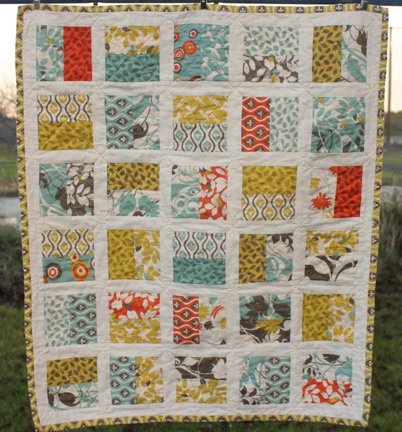 QUILT, Half Square Baby Crib Carseat Stroller Wall Hanging Quilt