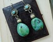 SALE:  Vintage Tribal Turquoise Earrings, by RusticGypsyCreations