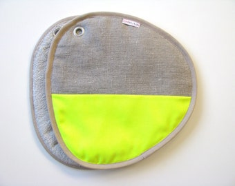 potholders - neon yellow and neutral linen pair of potholders - modern home - contemporary kitchen - color block - foodie gift