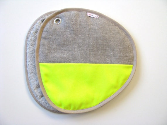 modern potholders - neon yellow and neutral linen pair of potholders - modern home - contemporary kitchen - color block - foodie gift