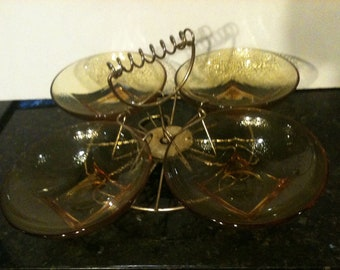 Vintage Amber Glass Serving Dishes with Metal Carousel