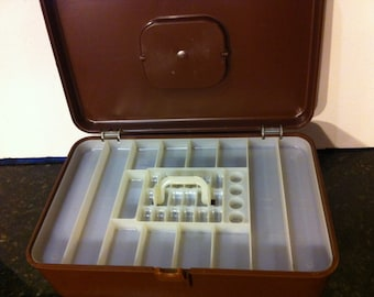 Vintage Chocolate Brown Wii Hold Sewing Box