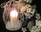 Vintage Round Ivory Wrought Iron French Birdcage or Candle Lantern For Wedding, Garden, Home Decor