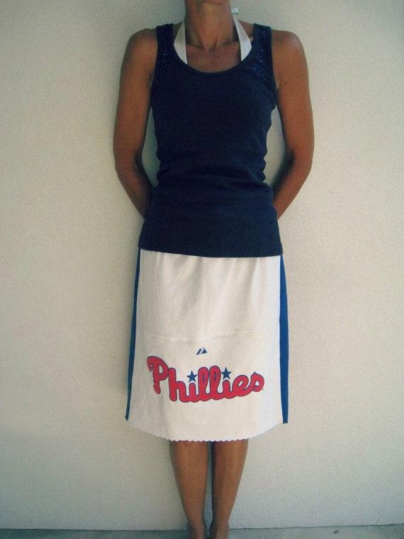 Philadelphia Phillies Recycled T Shirt Skirt / Cream Red Royal Blue / Girls / Eco Friendly / Drawstring / Baseball / Cotton / Fun / by ohzie