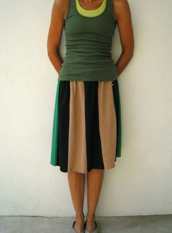 Earth Tones Upcycled T Shirt Skirt / Camel Black Green / Drawstring / Neutral Colors / Girls / Teens / Cotton / Soft / Fall / by ohzie