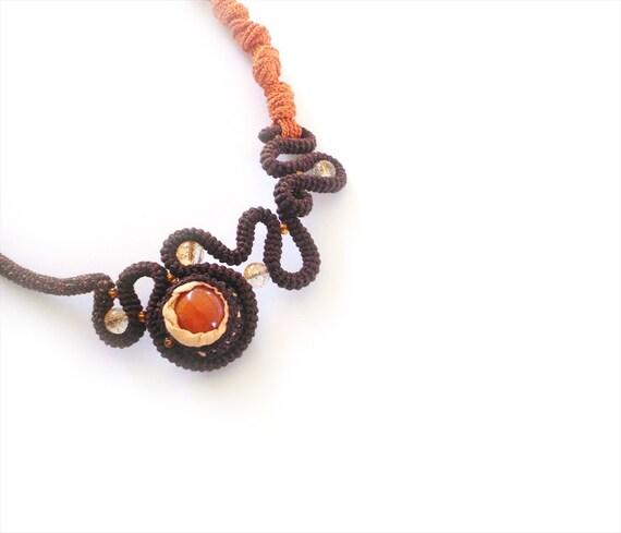 Crochet Statement Necklace Free Form Trendy Orange Brown