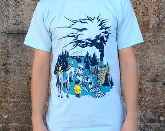 Water Cycle T-shirt, Men's American Apparel Blue Tee