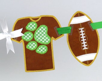 Football Banner ITH Project Applique Machine Embroidery Design Patterns all done in the hoop 3 variations