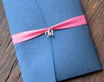 Elegant Navy and Pink Wedding Invitation