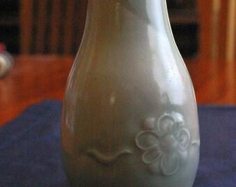 Porcelain Celadon Vase with Embellished Flower