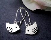 Love Birds Silver Dangle Earrings