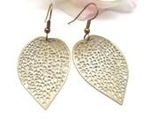 Antique Bronze Filigree Leaf Dangle Earrings