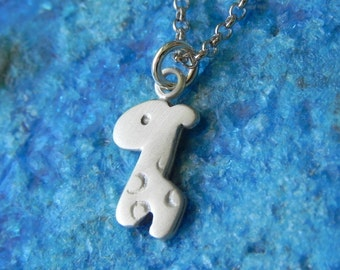 Cute baby giraffe necklace in sterling silver