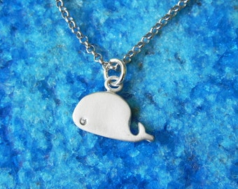 Baby whale necklace in sterling silver