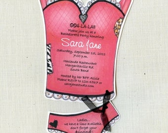 Personalized and Handcut - Party Invitations - Bachlorette Party - Pink - Lingerie Party Invitations - Set of 25