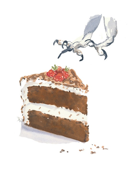 Cake Watercolor Original Painting - Kitchen Art, Chocolate Cake, Bird Claws, 8x10