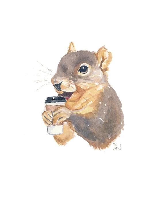 Squirrel Painting Original Watercolour - Animal Illustration, 8x10