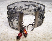 Black Gunmetal Beaded Ribbon Bracelet with Red Charms Formal Goth Steampunk Cuff Sparkle Victorian Vintage Lace Boho