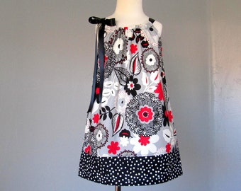 Last One - Girls Black White and Red Pillowcase Dress - Girls Floral Dress in Black White & Gray with Red - Size 12m, 18m, 2T, 3T, 4T or 5