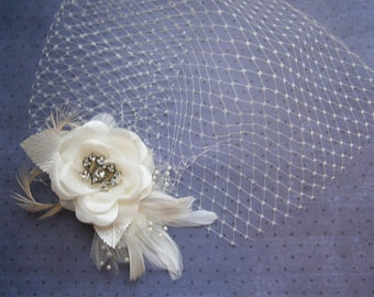 Ivory, Weddings, hair, accessory, Bridal, veil, Feathered, Fascinator, Feather, clip, Wedding, Accessories, Facinator, brides - IVORY ROSE