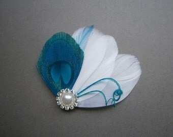 weddings, hair, accessories, Bridal, Peacock, white, Facinator, Feather, PIece, Wedding, Accessory, clip, teal, blue - TURQUOISE FAN
