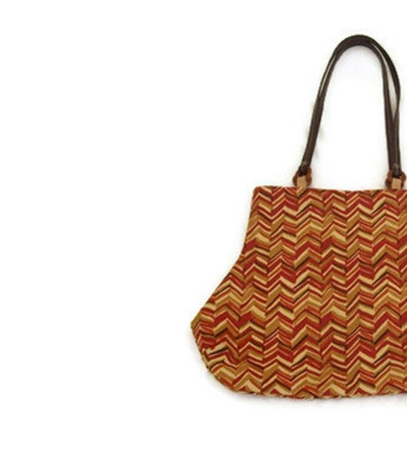Zig Zag Chevron Fat Bottom Handbag Purse Brown Gold Rust