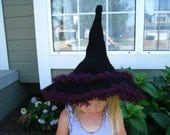 Crochet pattern - halloween witch hat costume, child to adult with spider and flower pattern, all sizes, PDF format