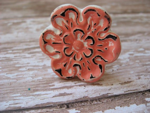 Set of 8 Shabby Chic Rustic Distressed White and Coral Pink Vintage Floral Knobs Dressers Coral Pink