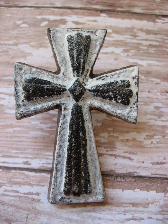 Reserved for Connie Set of 8 White and Natural  Weathered Architectural Cross Cast Iron Knobs Pulls Drawers or Cabinets