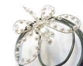 White Pearl and Crystal  Dragonfly Hair Pin, Brooch or Bouquet decoration - Wedding Bouquet Charm -  Dragonfly Jewelry -Tagt