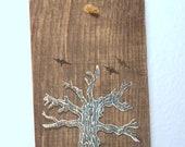 Rustic Halloween linocut printed oak plank / wall hanging