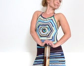 RESERVED crochet beach mini dress / tunic - sexy open back, asymmetrical lace hem - cotton, bamboo -  blue, brown - size M eur 38, US 10