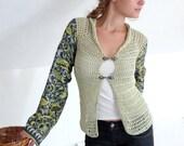 Summer Cardigan, Sheer Cotton Cardigan, Light Green Scarf Sleeves Cardi - Bohemian Vintage Fabric - size M - Women Summer Fashion