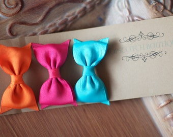 Patty clips trio Orange, Bright Pink, Turquoise