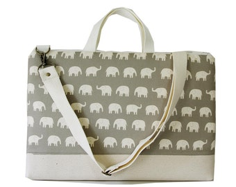 "SALE-15"" Macbook or Laptop bag with handles and detachable shoulder strap- Gray elephant -Ready to ship"