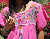 L/XL Peony Pink Vintage Mexican Hand Embroidered Sweet HummingBirds and Flowers
