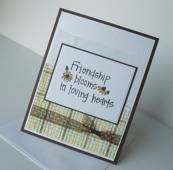 Friendship Greeting Card:  Handmade Blank Note Card - Loving Hearts