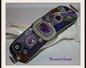 Bead Embroidery Cuff Bracelet with Amethyst