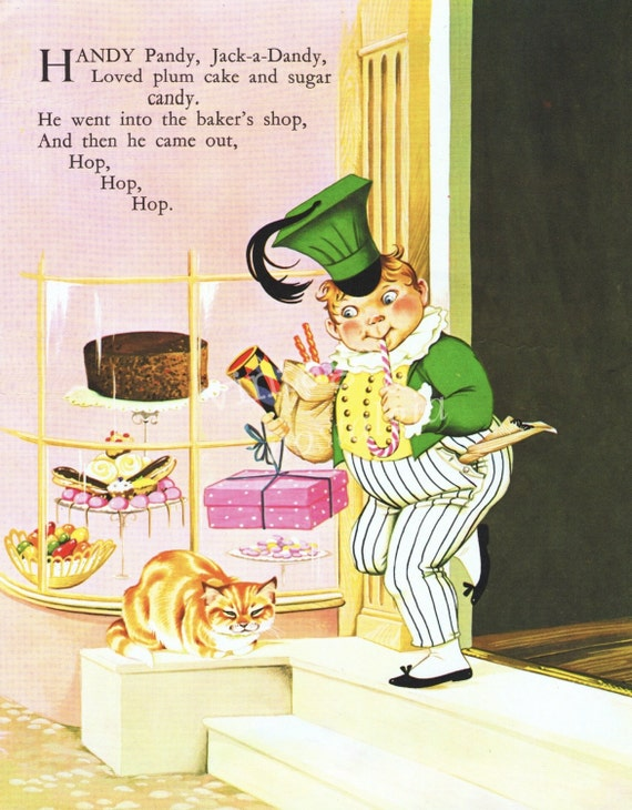 1960s Nursery Rhyme Handy Pandy Jack A Dandy Plum Cake Vintage