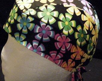 Hand Made Black Skull Cap w Colored Flowers, Women, Chemo Cap, Biker, Head Wrap, Do Rag,  Helmet Liner, Kids, Caps, Hats, Surgical Cap